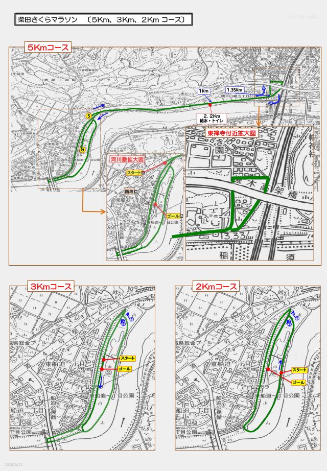 5km、3km、2kmコース図